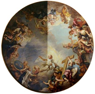 Modello de l'apothéose de Saint-Louis avant et après restauration