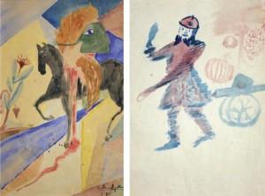 Autoportrait en canonnier et Autoportrait en cavalier masqué décapité G. Apollinaire