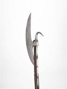 Hache du régiment de Clérambault, détail du crochet